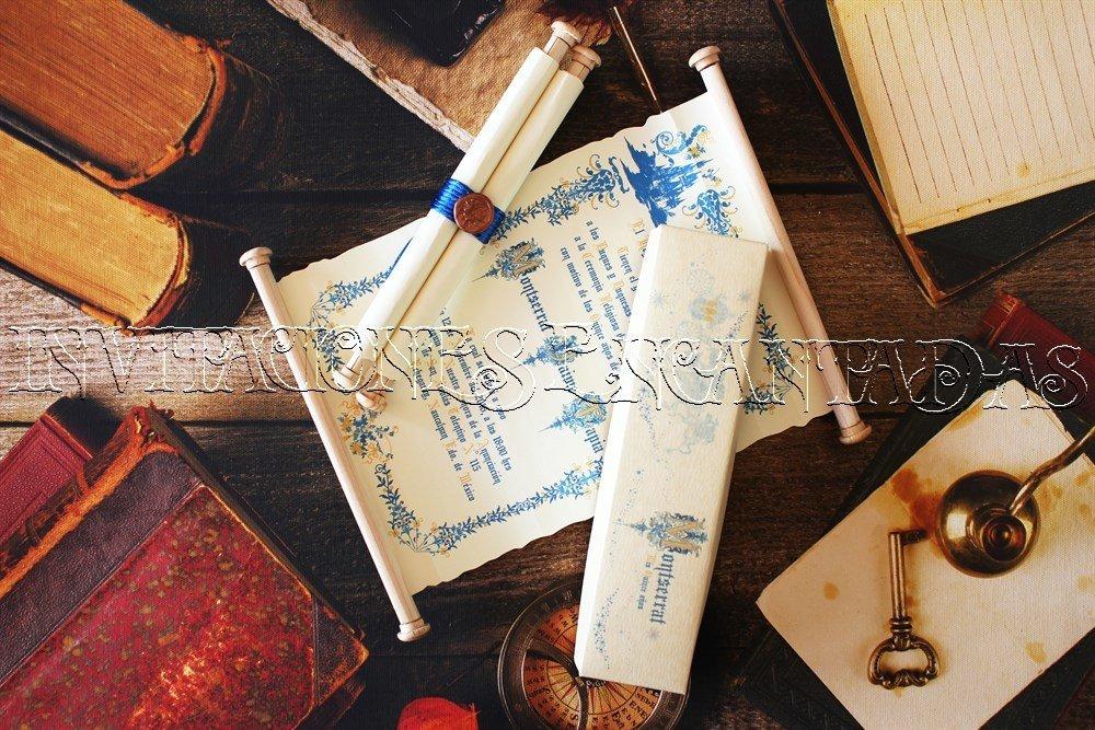 Invitación Medieval  01 Pergamino en Caja