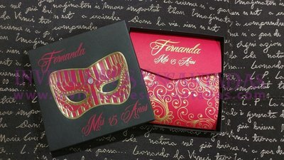 Máscara  Veneciana Caja 08 Con Invitación Italy pocket