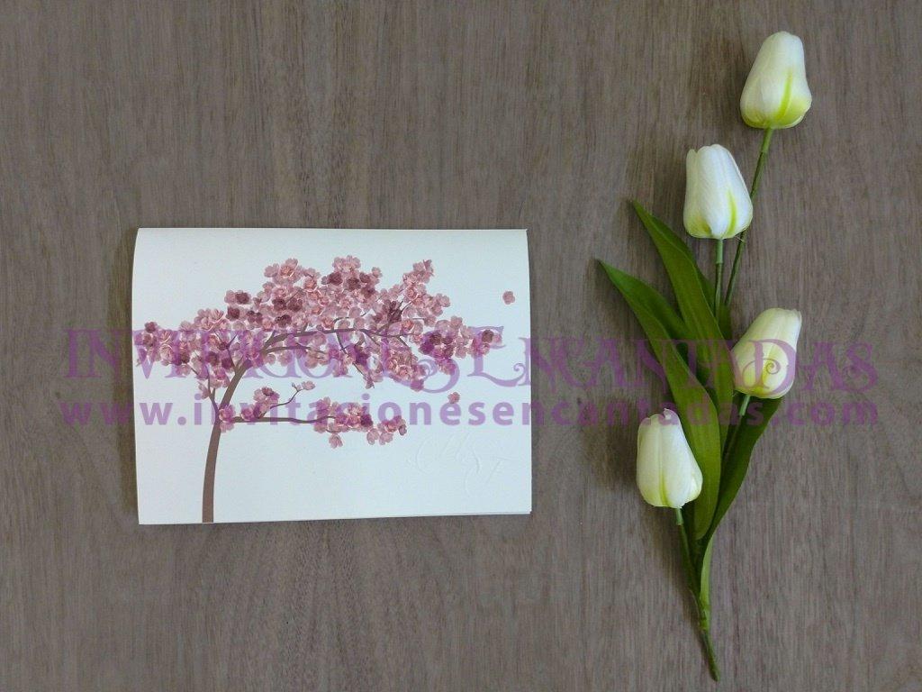 Invitación Boda Bamboo 020 Cerezo