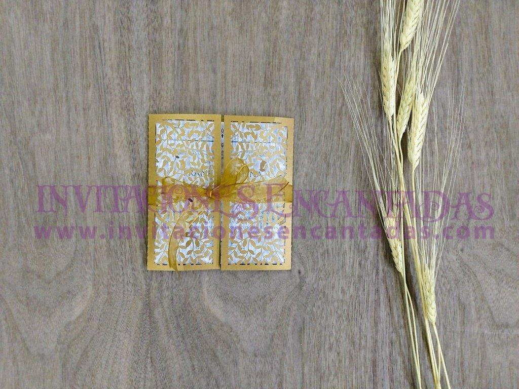 Invitación Sobre de Corte Láser GFS-074 Ramas Doradas