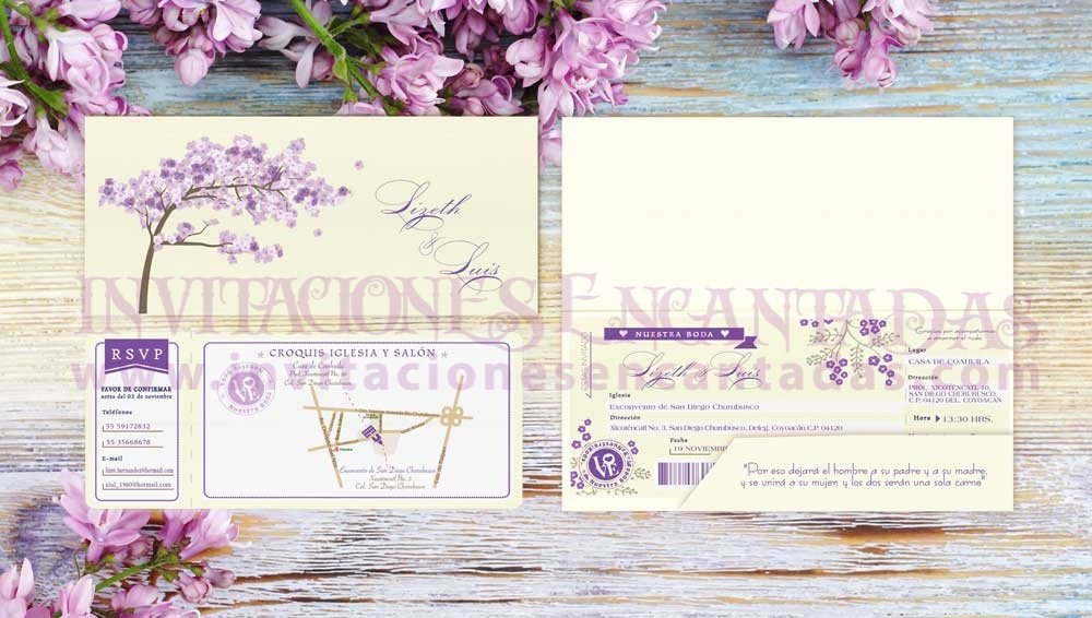 Invitación Ticket con Porta Ticket 25