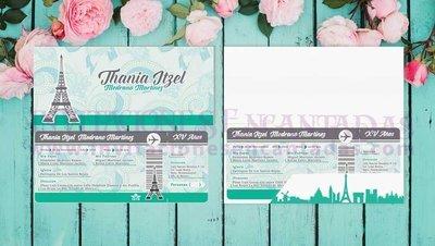 Invitación Ticket con Porta Ticket 12