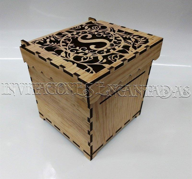 Caja de Dinero Madera + 50 Sobres de Dinero 20x20x20cms 03