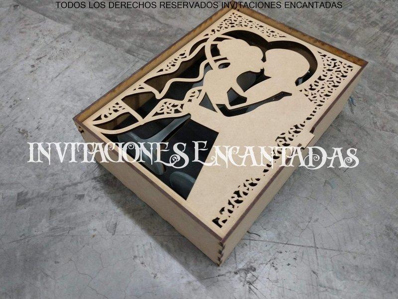 Set Copas Grabadas Novio Novia Para Boda + Caja