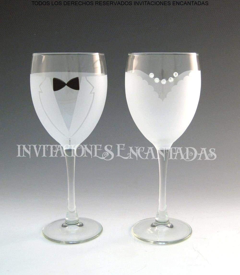 Set Copas Grabadas Para Boda Novio y Novia de Vidrio Vino