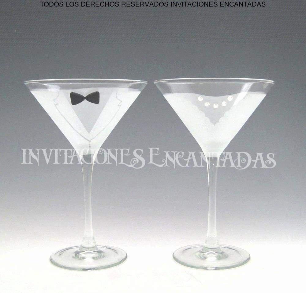 Set Copas Grabadas Para Boda Novio y Novia de Vidrio Martini