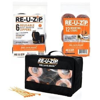 RE-U-Zip Pro Bundle (6 Zippers + 12 Mounting Strips + Carry Case)