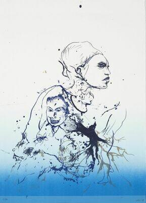 The Secret Language (Blue) - Lithograph