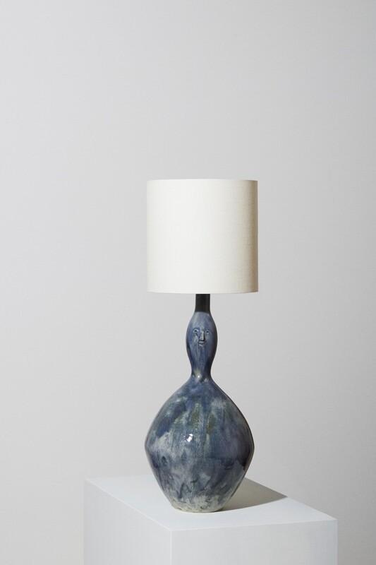 Pale Blue Vessel Face Lamp