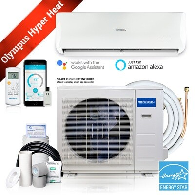 Energy Star 12000 Btu Ductless Mini-Split Heat Pump A/C, Up to 23 SEER, 16 ft Installation Kit included with HYPER HEAT