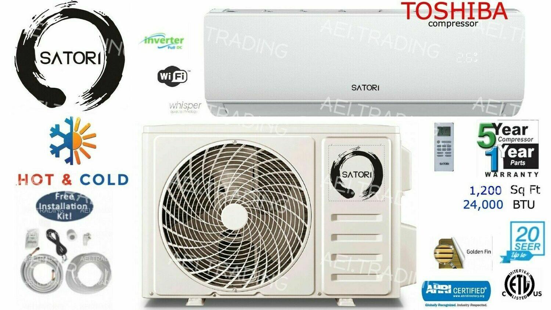 SATORI 24000 BTU Ductless Air Conditioner/Heat Pump Mini Split 220V: 2TON/ 18 SEER with WIFI