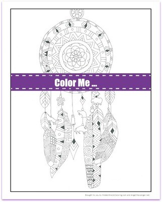 Seven Teachings Dream Catcher Coloring Page