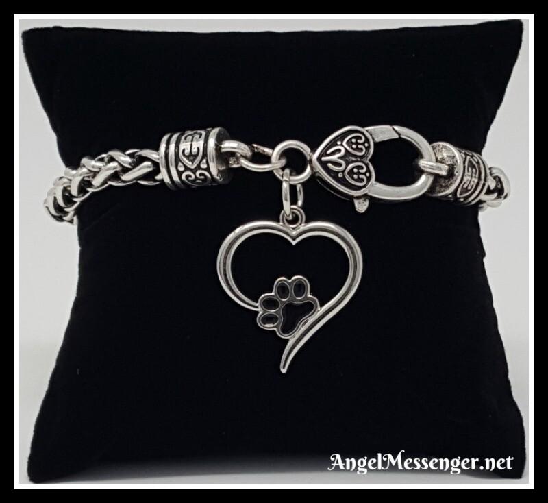 Teamer Paw Print Heart Charm Bracelet