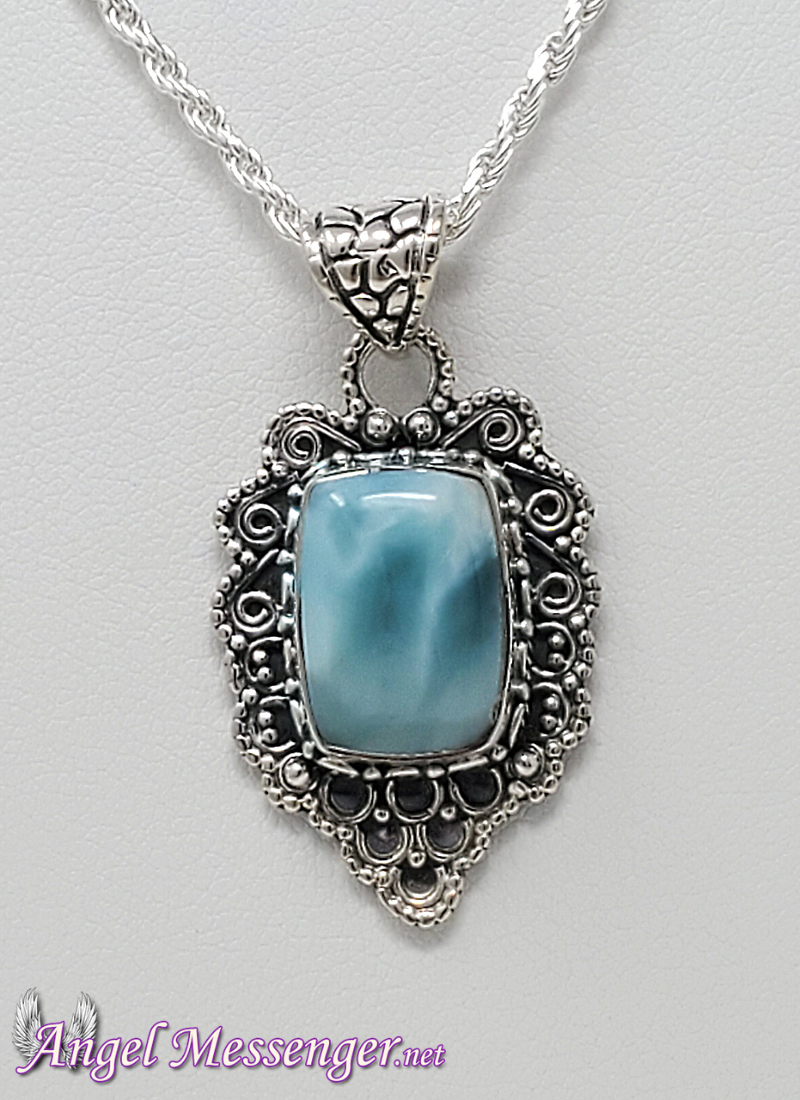Antiqued Larimar Necklace