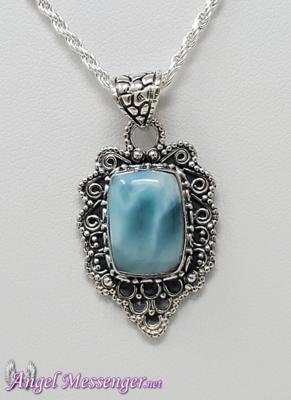 Antiqued Larimar Necklace