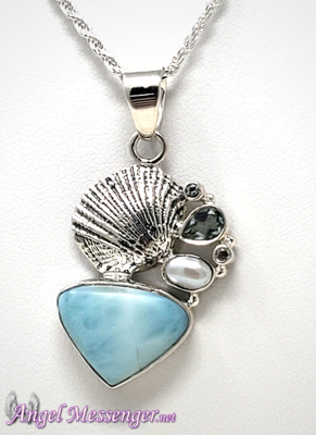 Clam Shell Larimar Necklace