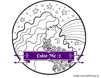 Goddess Rainbow Coloring Page