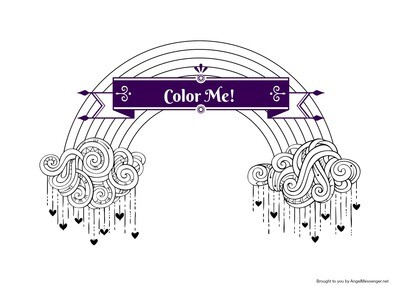 Rain Love Rainbow Coloring Page