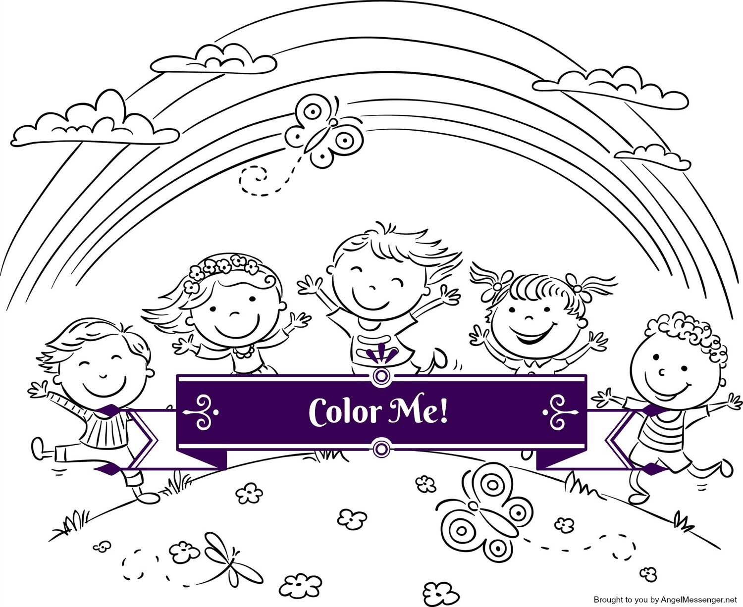 Children Playing Under a Rainbow Coloring Page