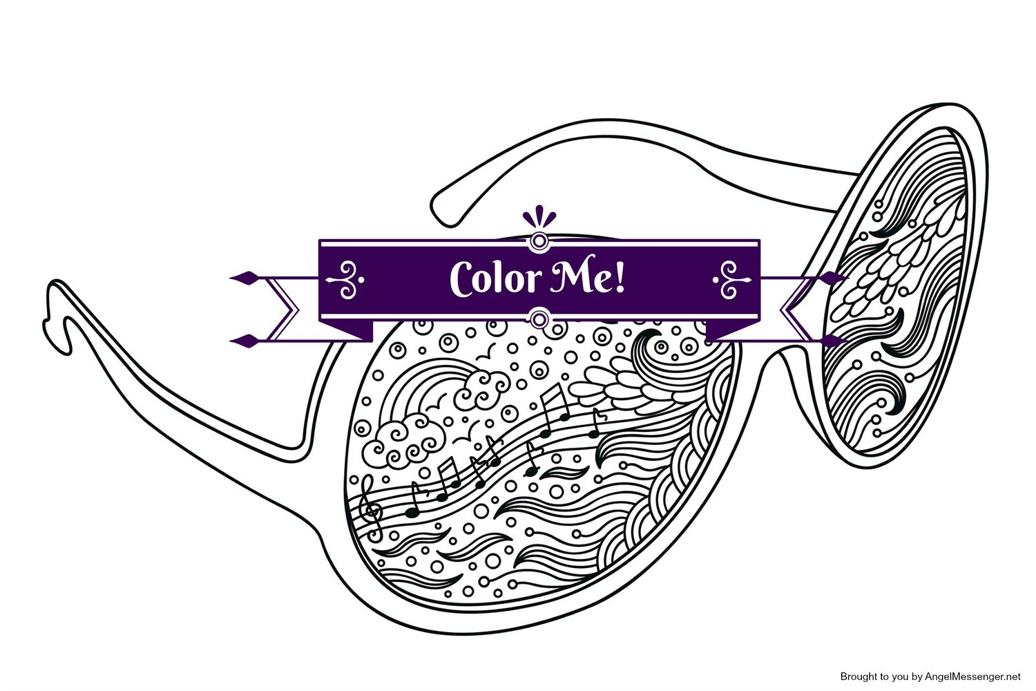 Music & Rainbows Sunglasses Coloring Page