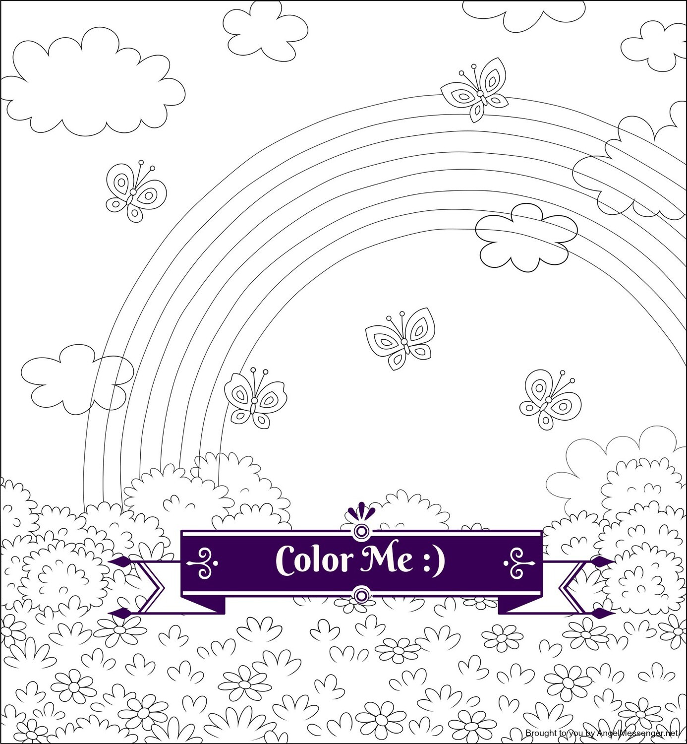 Butterflies & Rainbow Coloring Page