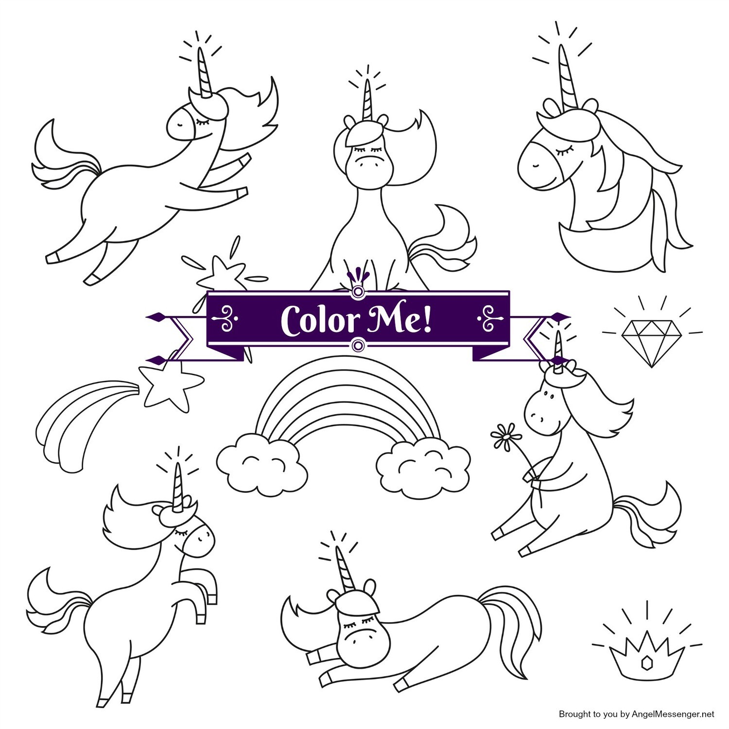 Shining Unicorns Rainbow Coloring Page