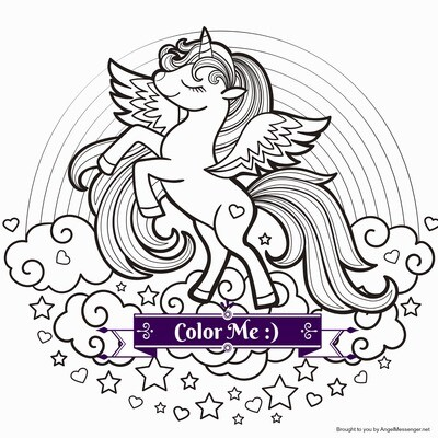 Celestial Unicorn Rainbow Coloring Page