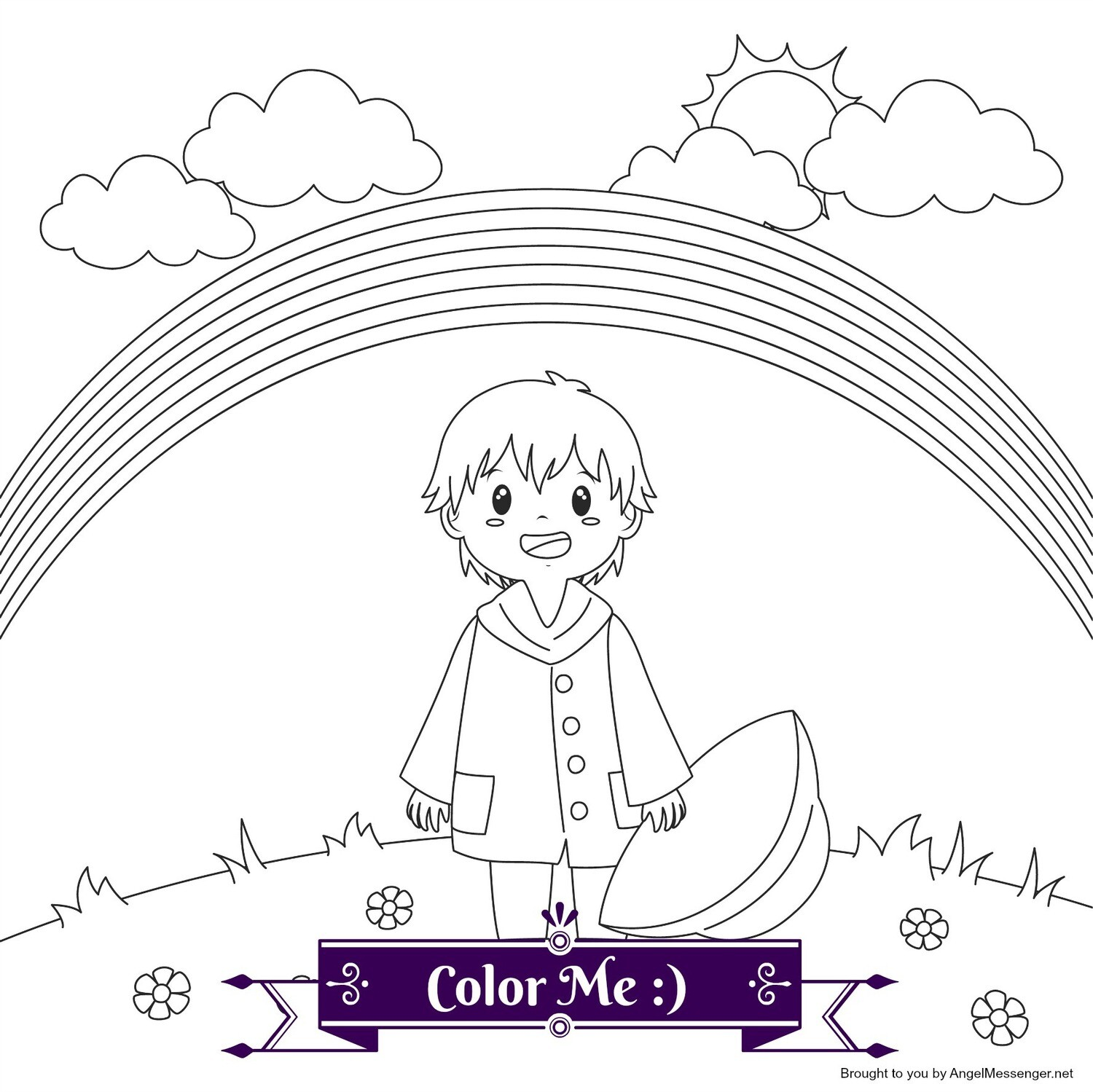 Child & Rainbow Coloring Page