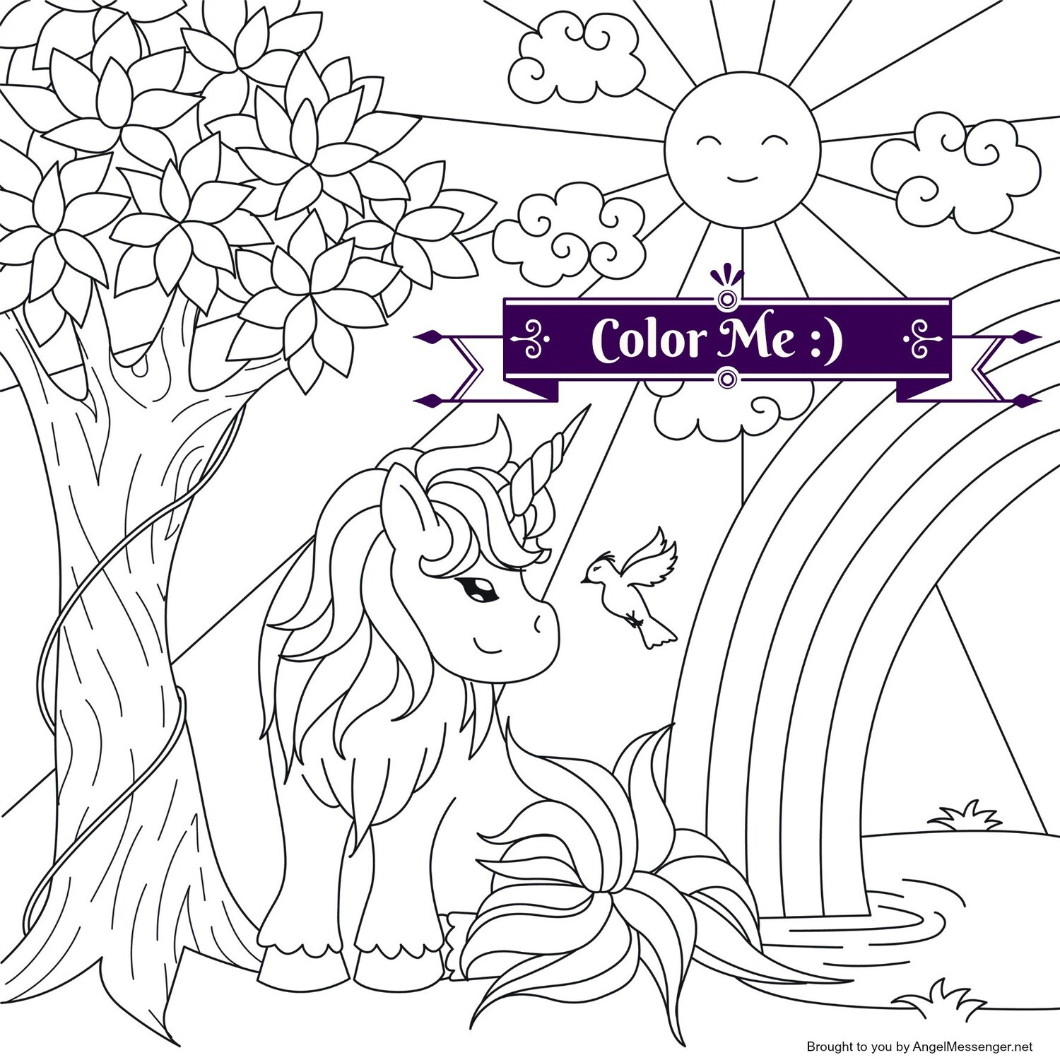 Tree, Unicorn & Rainbow Coloring Page