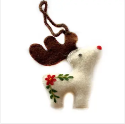 Reindeer Embroidered Wool Ornament