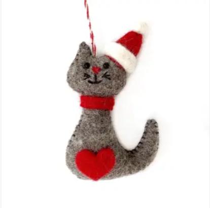 Cat Felt Wool Ornament