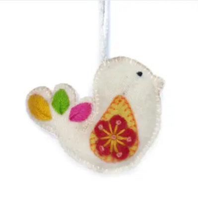 Dove Embroidered Wool Ornament