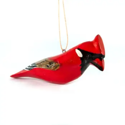 Cardinal Wood Bird Ornament