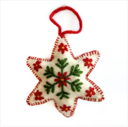 White Star Embroidered Wool Ornament