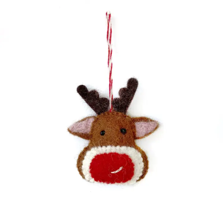 Red Nose Reindeer Felt Wool Ornament
