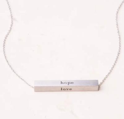 Faith Silver Bar Necklace