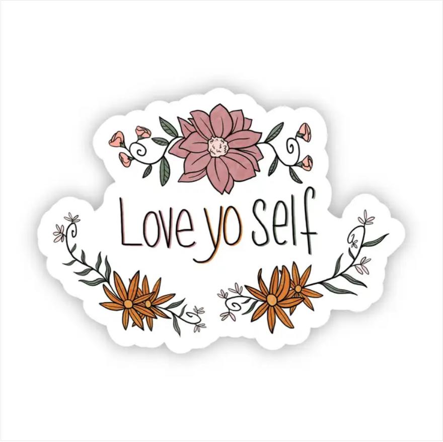 Love Yo Self Floral Sticker
