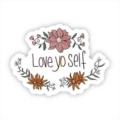 Love Yo Self Floral Sticker