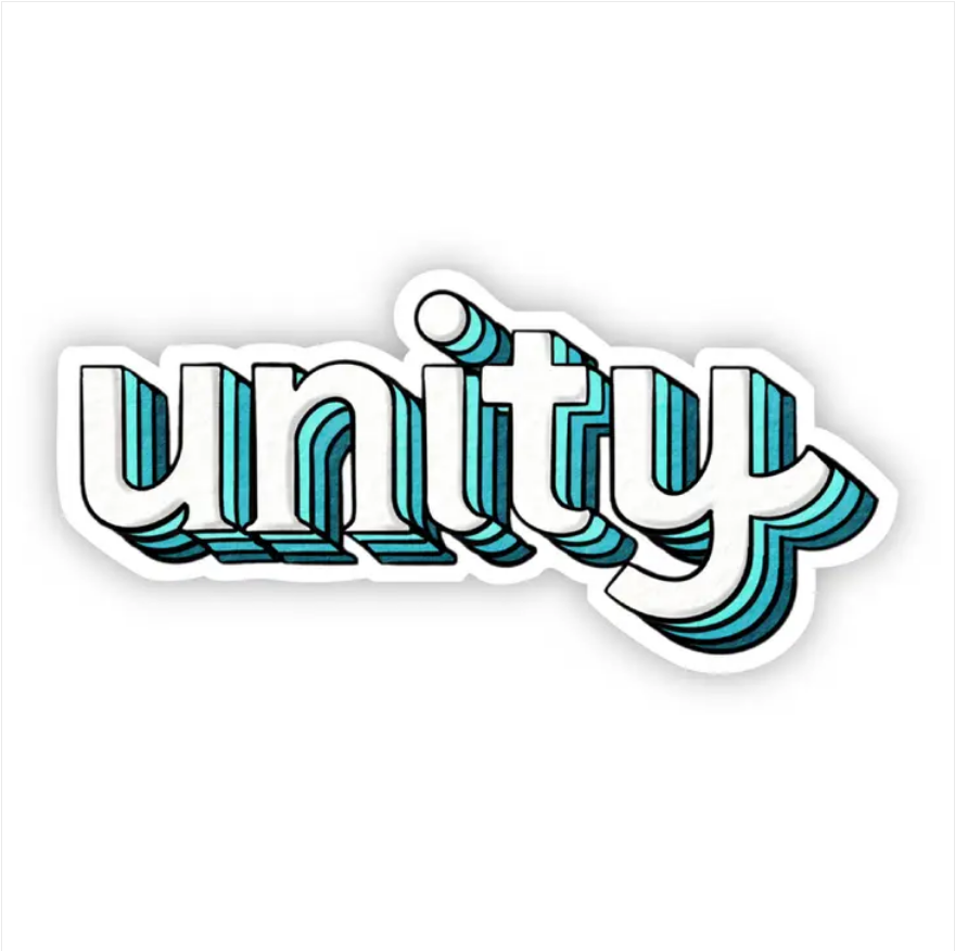 Unity Teal Lettering Sticker