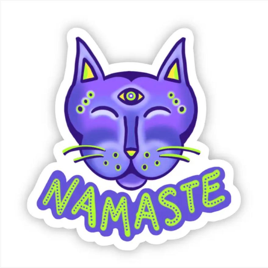 Namaste Cat Sticker