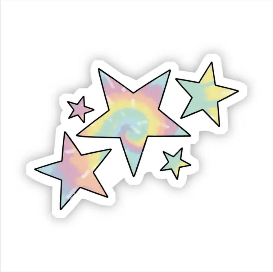 Tie Dye Stars Sticker