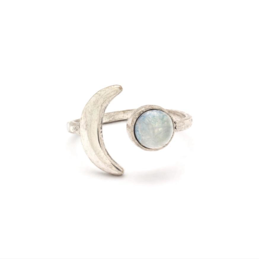 Mini Moon Adjustable Ring ~ Silver / Quartz
