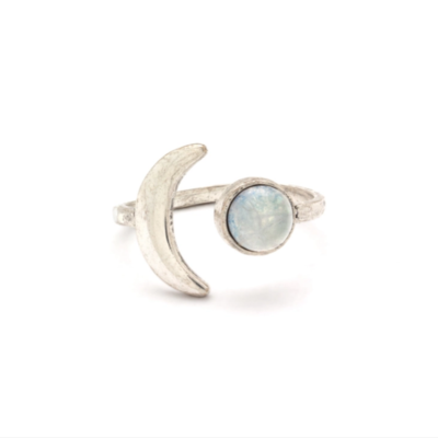 Mini Moon Adjustable Ring ~ Silver / Quartz