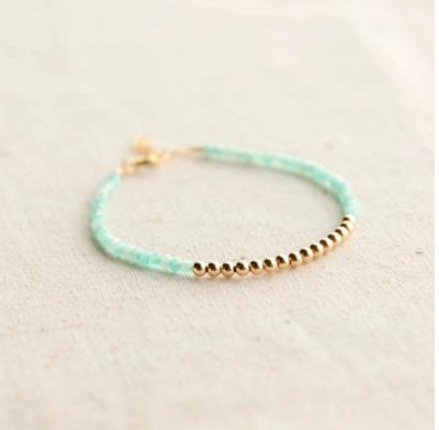 Gold Beaded Amazonite Bracelet
