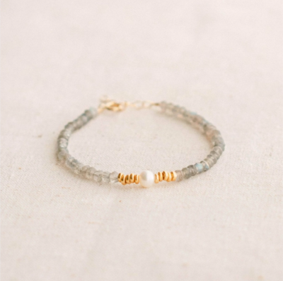 Labradorite and Pearl Bracelet