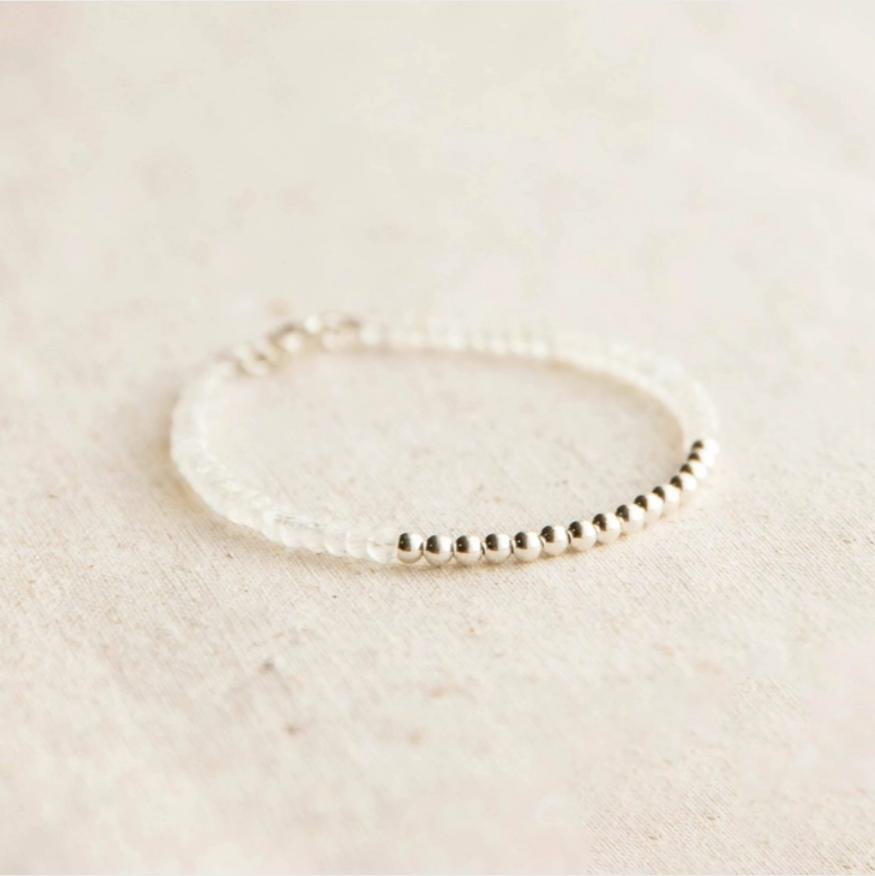 Silver Beaded Rainbow Moonstone Bracelet