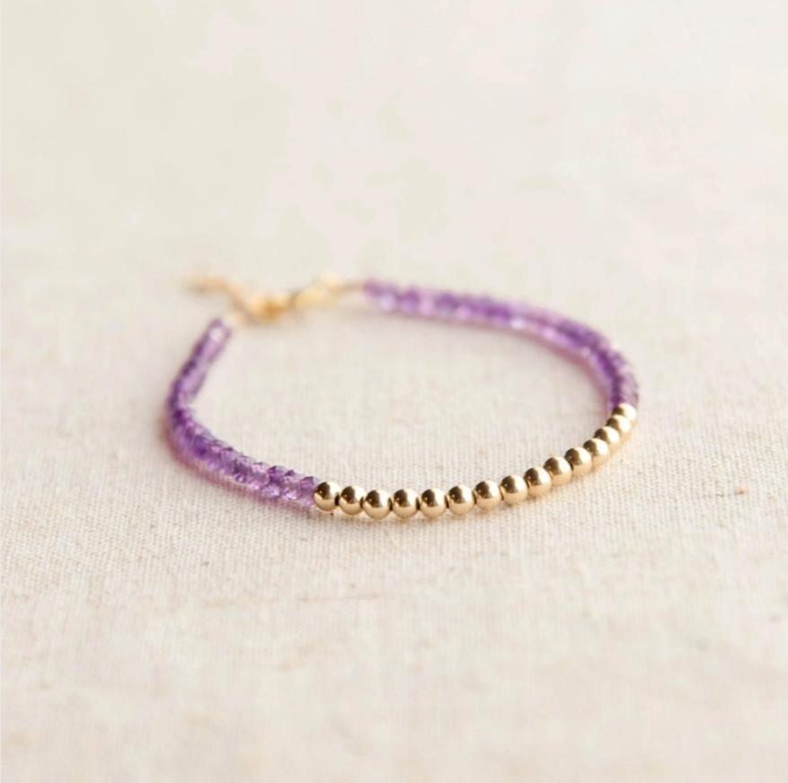 Gold Beaded Amethyst Bracelet