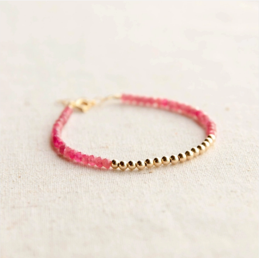 Gold Beaded Pink Tourmaline Bracelet