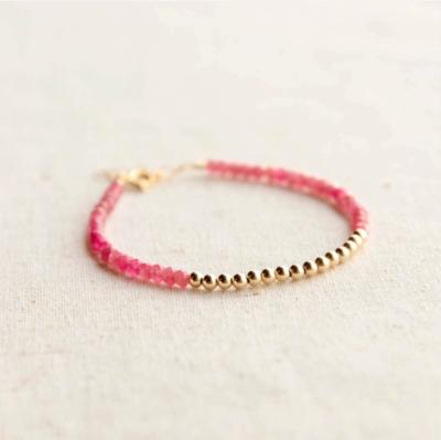 Gold Beaded Pink Tourmaline Bracelet