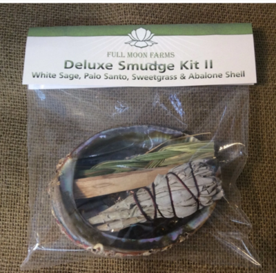 Deluxe Smudge Kit II (White Sage, Palo Santo, Sweet Grass & Abalone Shell)